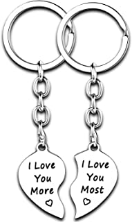 2PCs Heart Keychains Couples Gifts Anniversary for His and Hers Gifts for Women Men Boyfriend Girlfriend Christmas Gifts