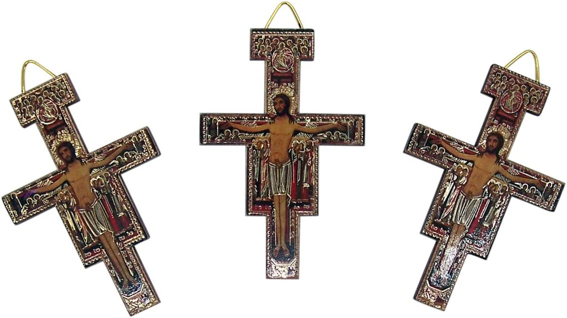 Small Wooden Hanging San Luxury goods Damiano Icon Cross 3 Wall Set Max 52% OFF In of