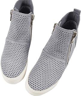 Womens Platform Wedge Sneakers Hollow Out High Top Mid Heel Side Zip Up Booties