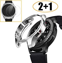 [2+1 Pack] Compatible Samsung Galaxy Watch 46mm/ Gear S3 Case Cover with Screen Protector, Soft TPU Bumper Shell + Tempered Glass Screen Protector Film for Samsung Gear S3 Frontier/Classic Silver