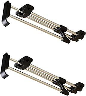 Saim Small Closet Solution Retractable Closet Adjustable Rod can Pulled Out Convenient Selection Clothing Stainless Steel Retractable Wardrobe Rail with Screw, 30cm/11.8inch 2Pcs