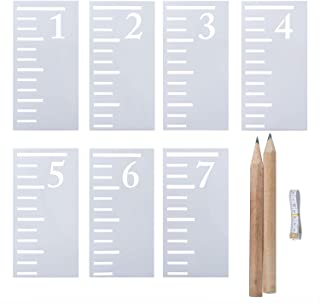 Elcoho 7 Feet Growth Chart Stencil 7 Pieces Kids Height Growth Chart Reusable Ruler Template for Painting on Wood Scale Stencils with 2 Pencil and 1 Flexible Ruler