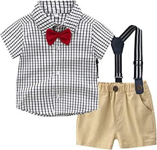 Toddler Baby Kids Boys Gentleman Suits Summer Tie Cartoon Shirts Plaid Print Shorts Formal Casual Outfits TM for 0-4 Years Old Little Boys,Colorful