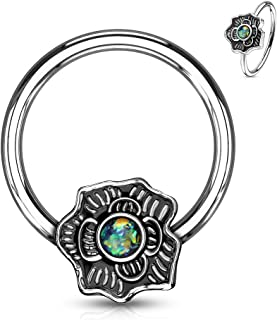 Opal Glitter Flower Captive Bead Ring 16G Surgical Steel Nose Ring Septum Body Piercing Hoop