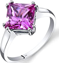 Peora 14K White Gold Created Pink Sapphire Solitaire Ring 3.25 Carat Princess Cut