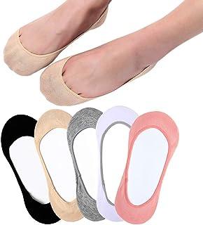 RedMaple, 5 pares de calcetines invisibles para mujer, de corte ultra bajo, antideslizantes, para zapatos de barco, zapatillas y mocasines