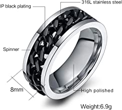 Fashion Men's Ring The Punk Rock Accessories Stainless Steel Black Chain Spinner Rings for Men 3 Color US