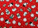 Weihnachten Eulen Print Baumwolle Stoff, Meterware, Rot