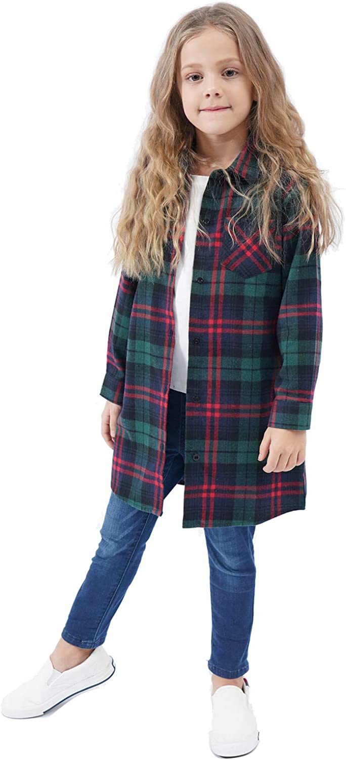 Kids Little Los Max 74% OFF Angeles Mall Girls Plaid Shirts Button T Flannel Down Shirt