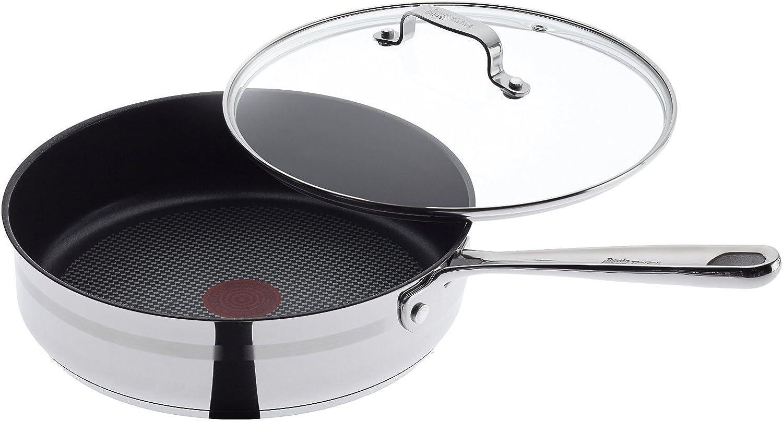 n ° 1 en línea Tefal E87332 - Sartén con tapa, acero inoxidable, plata, 24 24 24 cm  100% precio garantizado