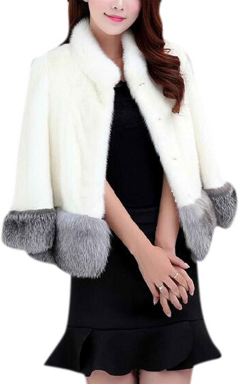 GESELLIE Women's Warm Long Sleeve Mink Faux Fur Fluffy Outwear Coat Jacket