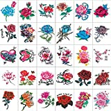 タトゥーシール 薔薇 ローズ 30枚セット バラ ハート 彼岸花 入れ墨 シール Pellforia 5×7cm