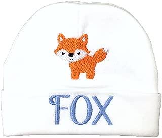 Custom Baby Boys Hat with Embroidered Fox for Newborn boy, Preemie boy