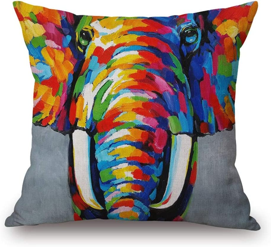 Throw Pillow Cover 18 Popular Max 45% OFF x18 Oil Painting F Colorful Vivid Elephant