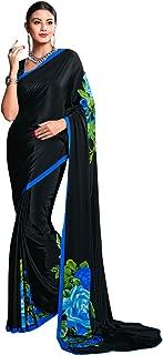 Craftsvilla Women's Crepe Traditional Black Saree with Blouse Piece