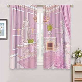 Teen Girls Decor Collection Premium blackout curtains Princess Dressing Room in Palace Luxurious Design with Chandelier Fireplace Design Print Kindergarten noise reduction curtains W63 x L84 Inch Pin
