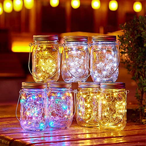 xjzjy 20 led solar fairy lights, used for mason jar lids to insert color-changing garden lights for Christmas outdoor wedding decorati?solar battery?Not including jar?