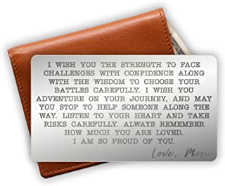 Engraved Stainless Steel Wallet Card Insert - Son Gift Idea from Mom - Unique Mini Love Note to Son from Mother - Graduation Gift - Coming of Age Gift (Silver)