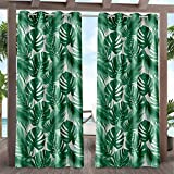Exclusive Home Curtains Jamaica Palm Indoor/Outdoor Light Filtering Grommet Top Curtain Panel Pair, 54x96, Green
