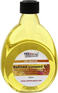 U.S. Art Supply - Refined Linseed Oil -, 500ml / 16.9 Fluid Ounce Container