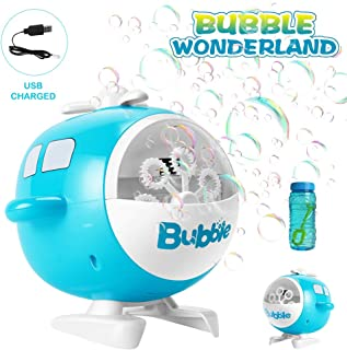 Goodking Funny Bubble Machine, Automatic Helicopter Bubble Blower with Bubbles Solutions, Portable Bubbling Toys for Children Kids Toddlers Boys Girls Baby Outdoor Indoor Activity ( USB Charging )