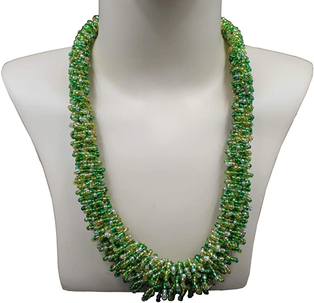 Womens Multi Color Beaded Rope Necklace
