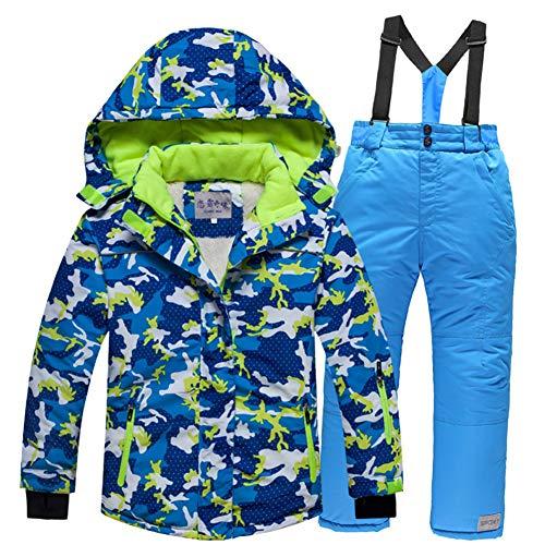 LPATTERN Kinder Jungen/Mädchen Skifahren 2 Teilig Schneeanzug Skianzug(Skijacke+ Skihose), Blau Jacke+ Hellblau Trägerhose, Gr. 128/134(Herstellergröße: 126-134/10)