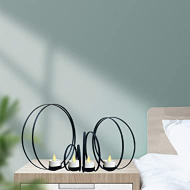 smtyle Black Candle Holders for Tea Light Haunted Candelabra Prop Set of 4 for Votive Tealight Candles with Metal Ring Shape