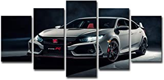5 Panel Wall Art White Honda Civic Type R Car Canvas Print Oil Painting Wall Picture on Canvas for Home Decoration Living Room Modern Artwork Gift Piece