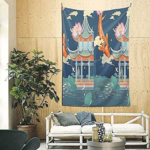 Flor de loto rosa y templo del estanque de peces Koi en verano Fantasía Pintura oriental Boutique 3d Tapiz de pared decorativo Arte pop Retro Microfibra Decoración del hogar 90in * 60in