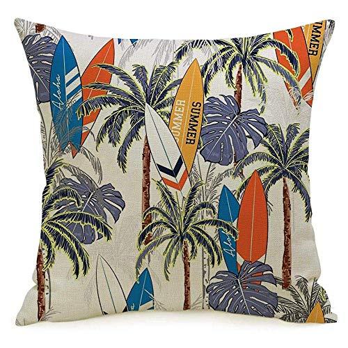 Funda de almohada cuadrada de lino decorativa Funda de almohada vintage Océano exótico Vacaciones de verano Surf a mano Dibujo de árbol de olas Hawaii Tabla de surf azul Funda de almohada tropical Coj