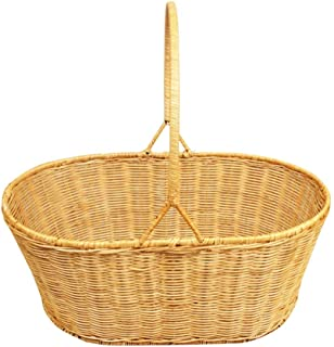 BH41 Storage Basket,Vegetables Picnic Creative Shopping Basket Hand Weaving Arc Handle Heightening Flat Mouth High Capacity Plant Vine Outdoor (Color : Brown, Size : 44X29X17CM)