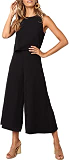 Women's Jumpsuits-Casual Sleeveless Overlay Wide Leg Long Palazzo Pants Jumpsuit Rompers Playsuit