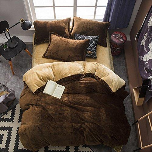 BB.er Flannel ensemble de literie automne et hiver épais chaud loi velours couleur unie textile de maison literie collection, Camel brun foncé, 200x230cm