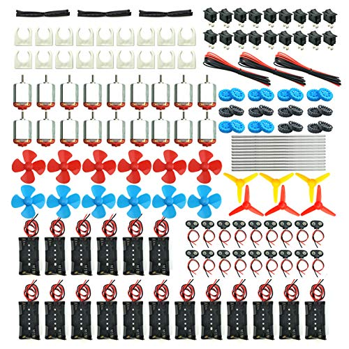 EUDAX 18 Set DC Motors Kit, Mini Electric Hobby Motor 3V -12V 25000 RPM Strong Magnetic with Shaft Propeller , 2 x AA Battery Holder,9V Battery Clip Connector,Plastic Wheels for DIY Science Projects