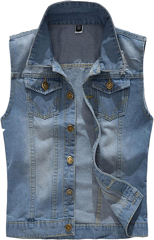 Men's Vintage Motorcycle Denim Vest,Sleeveless Lapel Jacket Vest, Casual Distressed Waistcoat Gilets
