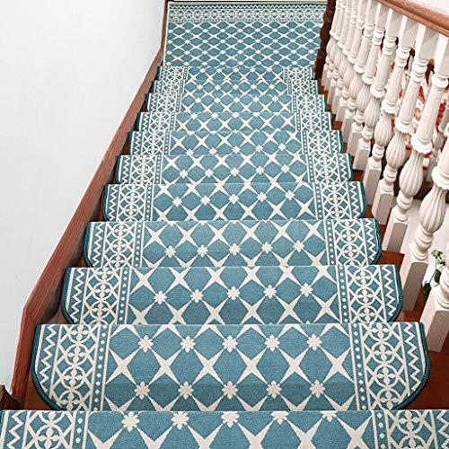 LOUTAB Pesado Alfombras para Escalera,Set de 1 Unidades Espesar decoración del hogar para Escalera Antideslizantes Alfombrilla para peldaños Silencio Afombra Ribeteado-L-26x100Cm(10x39Pulgada)