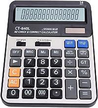 idalinya Solar Power Calculator Large Button 14-bit Display Financial Calculator CT-840L ABS Dual Power Supply Solar Energy