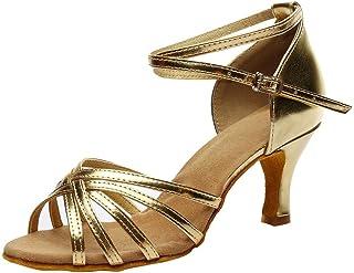 Zapatos Mujer Tacon Fiesta, LANSKIRT Sandalias de Vestir Mujeres de tacón Fiesta de Color Rumba Waltz Chanclas Salón de Ba...