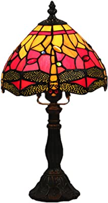 3079c66f8bbc Tiffany Style Table Lamp In 8-Inch Stained Glass Bedroom Beside Desk Lamps  With Dragonfly