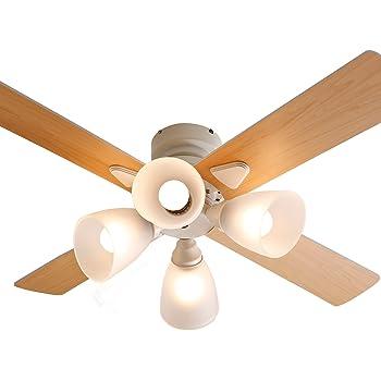 LOWYA 照明 シーリングファンライト シーリングファン リバーシブル 4灯 ホワイト/ナチュラル