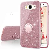 Galaxy Grand Prime Case, Galaxy J2 Prime Case,Silverback Girls Bling Glitter Case with 360 Rotating Ring Stand, Soft TPU Cover + Hard PC Shell for Samsung Galaxy Grand Prime Plus -Rose Gold