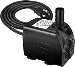 Jhua Fountain Pump 300GPH (1200L/H, 21W) Submersible Water Pump, Ultra Quiet Fountain Pumps Submersible Outdoor with 5.9ft Power Cord, 3 Nozzles for Aquarium, Fish Tank, Pond, Statuary, Hydroponics