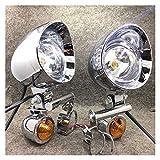 1 Set Universal Chrome Motorcycle Spot Light con indicador de señal de Giro Lámpara de accionamiento Auxiliar (Color : A)