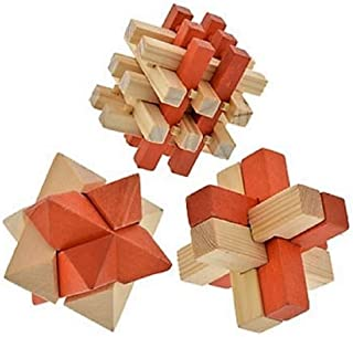Greenbrier Brain Teaser 3-D Wooden Puzzles for Adults and Children, 3-Puzzle Set