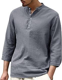 Camisa de manga corta para hombre de algodón y lino, corte ajustado, para verano, manga 3/4