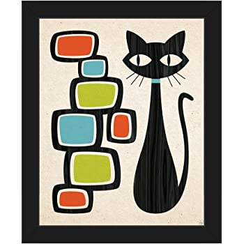 Retro Cat with Bubbles Orange Green and Blue: Mid-Century Retro Modern Postmodern Geometric Shapes Abstract Painting Drawing Illustration Wall Art Print on Canvas with Black Frame