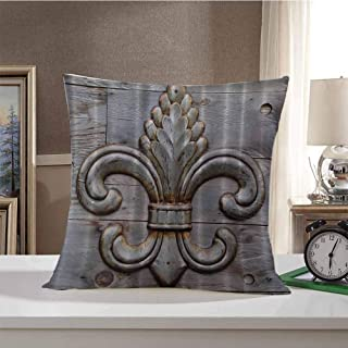 Fleur De Lis Antiques Decorative Square Throw Pillow Covers Peacock Flower Lily Rusty Antiqued Wood Silver Medieval Door Bell French Saints Symbol Rustic Cushion Case for Sofa Bedroom 18 x 18 Inch Ch