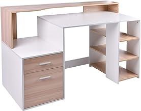 HOMCOM Bureau Informatique multimédia Design Multi-rangements 137 L x 55 l x 92 H cm chêne Blanc