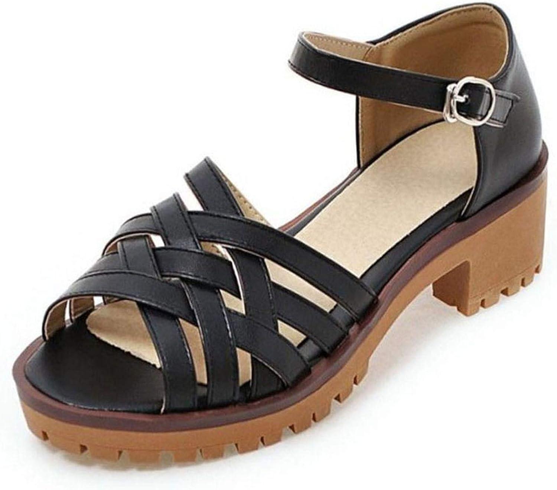 Deep-deep Down HEELS Women Gladiator High Heel Sandals Ankle Strap Peep Toe Thick Heel Sandals Summer shoes Women's Sandal